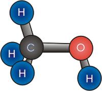 Estructura molecular del metanol.
