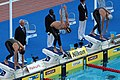 Michael Phelps before the start of the 200m butterfly semi-final - 2009 FINA World Championships.jpg