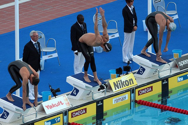 Michael Phelps before the start of the 200m butterfly semi-final - 2009 FINA World Championships