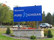 Michigan-Canadian international crossings-Michigan entrance sign
