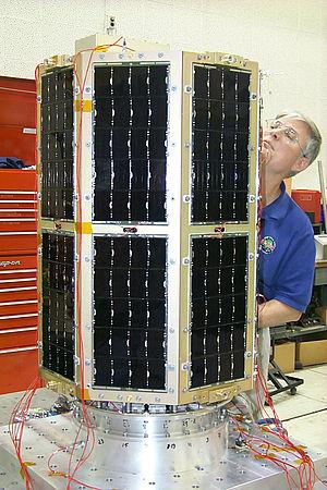 Small Satellite Program (United States Naval Academy) - MIDSTAR-1 after vibration testing.