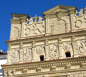 Mannerist architecture and sculpture in Poland - Mikołaj Przybyła's House attic (1615), Polish-style mannerism (Lublin type), Kazimierz Dolny.