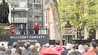 Statue of Millicent Fawcett - Theresa May speaking at the unveiling of the statue
