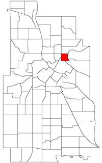 Location of Beltrami within the U.S. city of Minneapolis