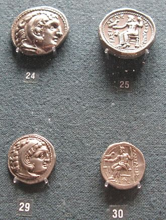 Macedonia (ancient kingdom) - Tetradrachms (above) and drachms (below) issued during the reign of Alexander the Great, now in the Numismatic Museum of Athens