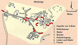Miróbriga - The layout of Mirobriga showing the chapel of São Brás (1), residential villas (2), thermae (3), bridge (4), accommodations (5), market (6) and forum (7)