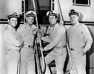 George Ives (actor) - From Mister Roberts (TV series), L-R: Steve Harmon, George Ives, Roger Smith, and Richard X. Slattery (1967)