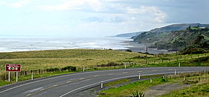 Mokau - the view of Mokau and the coast to the north from the Waitomo boundary on SH3.