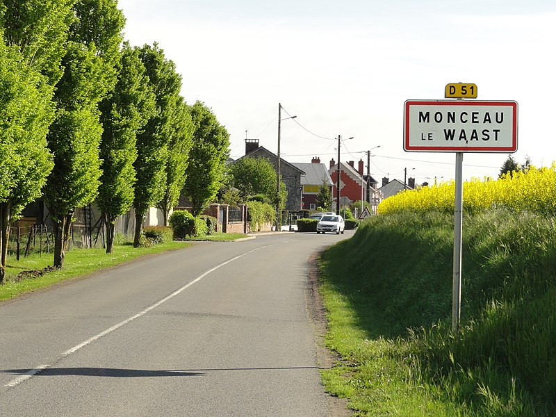 Monceau-le-Waast (Aisne) city limit sign