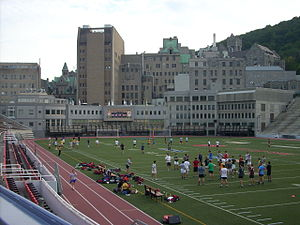 Percival Molson Memorial Stadium - The Montreal Neurological Institute wraps around one end of Molson Stadium.