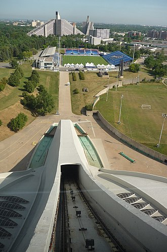 Olympic Stadium (Montreal) - North-east view from funicular lower deck compartment