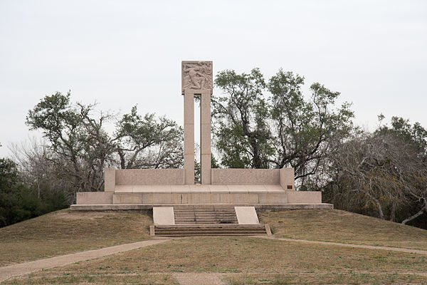 This monument marks the location where the Texians from the Goliad Massacre were finally buried. Monument at Goliad Massacre.jpg