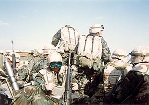3rd Marine Regiment (United States) - Marines of 1st Battalion during the Gulf War ground campaign in February 1991