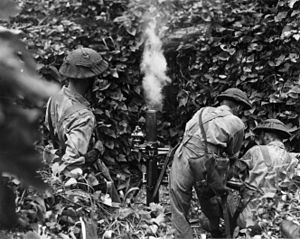 Battle of the Treasury Islands - A New Zealand mortar squad on Mono Island