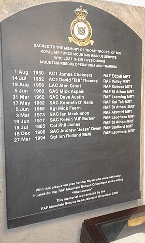 Royal Air Force Mountain Rescue Service - Royal Air Force Mountain Rescue Team memorial plaque in St Clement Danes church crypt, London.