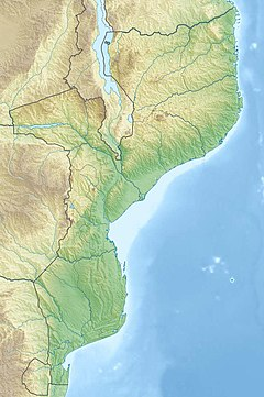 Map of Mozambique with a marked lake in the Northwest