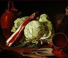 Munari, Cristoforo Munari - - terracota Olaria, abóbora, repolho, carne de porco ombro e placa com pratos faca, barro e estanho, bife e galli.jpg