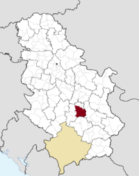 Location o the municipality o Kruševac within Serbie