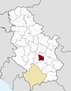 Location of the city of Kruševac within Serbia