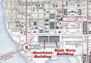 Main Navy and Munitions Buildings - Location of the Munitions and Main Navy Buildings on a 1945 USGS map