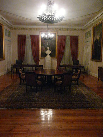 Greek Senate - Meeting room of the Ionian Senate, in the Palace of St. Michael and St. George, Corfu.