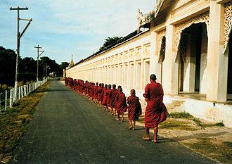 Shwezigon Pagoda - Buddhist monks at Shwezigon Pagoda in 1999