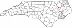 Location of Williamston, North Carolina