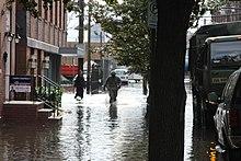New Jersey National Guard in flooded Hoboken following Hurricane Sandy
