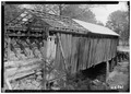 NORTH END AND WEST SIDE OF BRIDGE - Cripple Deer Creek Covered Bridge, Allsboro, Colbert County, AL HABS ALA,17-ALBO.V,1-2.tif