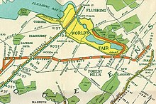 IND World's Fair Line - Wikipedia on expo 67 map, flushing meadows park map, 1964 new york city map, disneyland map, world fair site map, ny state road map, nys fair map, pan american exposition map, queens map, waldorf astoria hotel map, ed sullivan theater map, 1964 nyc subway map, boone county fair map, 64 world fair map, rockefeller center map, jacob javits convention center map, texas state fair map,
