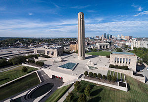 National World War I Museum and Memorial - Aerial photo of the National WWI Museum and Memorial with the Kansas City skyline.
