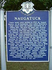 Naugatuck town history sign 1