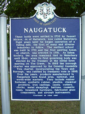 Naugatuck, Connecticut - Town history sign found on the Naugatuck Green