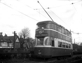 Liverpool Corporation Tramways - By 1957, the once-great Liverpool tramway system had been reduced to just two routes, the 6A to Bowring Park and the 40 to Page Moss Avenue. These routes finally closed in September. All were in a run-down and dilapidated condition, sad to see. Here is a 'Baby Grand' 4-wheel tram on the Bowring Park route.