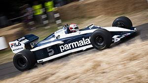 Brabham BT52 - Piquet presenting the car at the 2013 Goodwood Festival of Speed