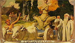Germanic mythology - Nerthus (1905) by Emil Doepler depicts Nerthus, a Proto-Germanic goddess whose name developed into Njörðr among the North Germanic peoples