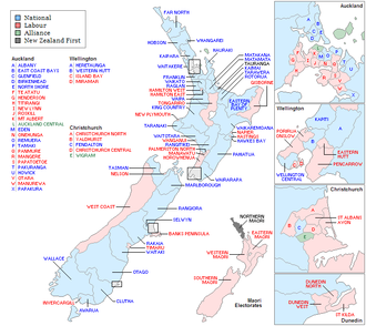 44th New Zealand Parliament - Image: New Zealand Electorates 1993 Labeled