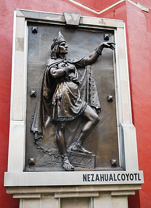 Nezahualcoyotl (tlatoani) - Bronze casting done of Nezahualcoyotl by Jesús Fructuoso Contreras in the Garden of the Triple Alliance located in the historic center of Mexico City.