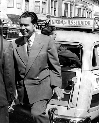 "Nixon on his ""station wagon tour"" in Sausalito, California, 1950 Nixon campaigns in Sausalito 1950.jpg"