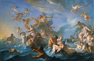 """Noël-Nicolas Coypel - L'enlèvement d'Europe (""""The Abduction of Europa""""), 1726-1727."""