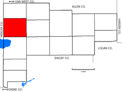 Location of Noble Township in Auglaize County