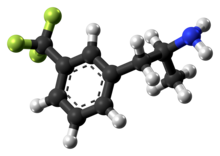 Ball-and-stick model of the norfenfluramine molecule