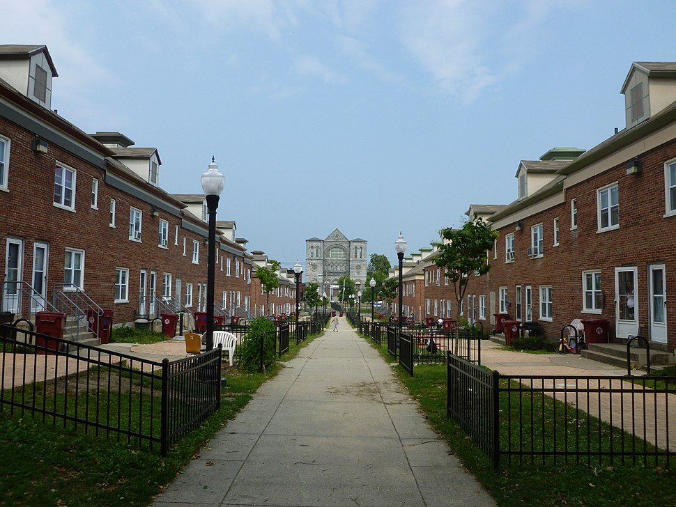 North Common Village, with Saint Jean-Baptiste Church in background; Lowell, MA; 2011-09-03