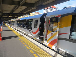KiwiRail Scenic Journeys - The Northern Explorer about to depart from Wellington Railway Station with new AK class carriages.
