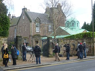 Keith O'Brien - Reporters outside St Bennets, O'Brien's Edinburgh residence, on the day he resigned.