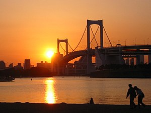 2020 Summer Olympics - View of the Rainbow Bridge from Odaiba Marine Park