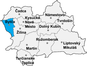 Jablonové, Bytča District - Location of Bytča District in the Žilina Region