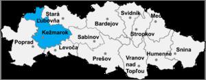 Toporec - Location of Kežmarok District in the Prešov region
