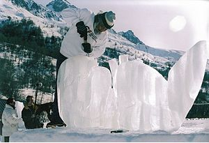 1992 Winter Olympics - Mexican sculptor Abel Ramírez Águilar working on his gold medal piece in snow sculpture competition related to the Games