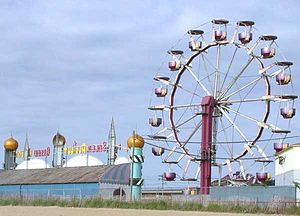Old Orchard Beach, Maine - Ferris wheel seen from the beach in Old Orchard Beach